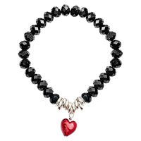 Martick Murano Heart And Crystal Bracelet Red