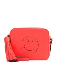 Anya Hindmarch Smiley Leather Crossbody Bag Red