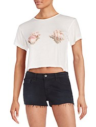 Wildfox Couture Shell Graphic Crop Top Pearl