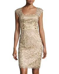 Sue Wong Embroidered Cap Sleeve Dress Beige