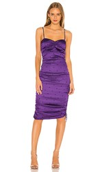 For Love And Lemons Paula Ruched Dress In Purple. Purple Dot