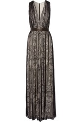 Alice Olivia Sybil Leather Trimmed Lace Maxi Dress Black