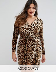 Club L Plus Leopard Wrap Pencil Dress Multi