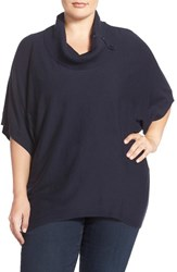 Sejour Plus Size Women's Button Cowl Neck Short Sleeve Sweater Navy Sapphire