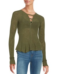 Free People Long Sleeve Sheer Tee Green