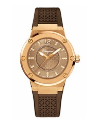 Salvatore Ferragamo 33Mm F 80 Watch W Diamonds And Rubber Strap Brown