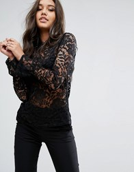 Lipsy Lace Long Sleeve Top With High Neck Black