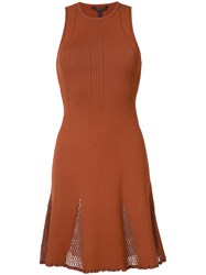 Derek Lam Mesh Panelled Ribeed Knit Dress Women Polyamide Polyester Viscose Xs Red