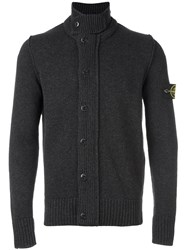 Stone Island Roll Neck Buttoned Cardigan Grey