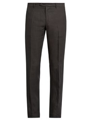 Etro Straight Leg Linen Trousers Charcoal