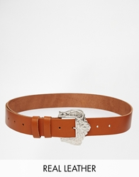 Black And Brown Leather Belt With Western Buckle Tan