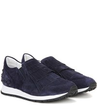 Tod's Sportivo Frangia Suede Sneakers Blue