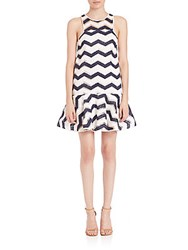 Milly Jillian Chevron Jacquard Dress Navy White