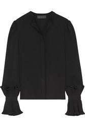 Co Pleated Crepe Blouse Black