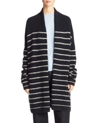 Vince Plush Striped Long Cardigan Blue White