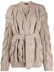 Dsquared2 Chunky Cable Knit Cardigan Neutrals