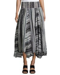 Chelsea And Theodore Smocked Waist Graphic Print Skirt Gray