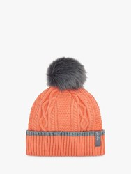 Joules Anya Bobble Cable Knit Hat Orange