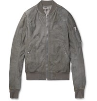 Rick Owens Flight Slim Fit Blistered Leather Bomber Jacket Gray