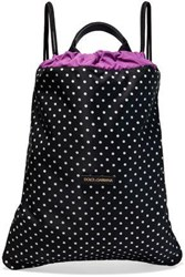 Dolce And Gabbana Woman Leather Trimmed Polka Dot Shell Backpack Black