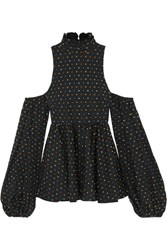 Caroline Constas Cold Shoulder Swiss Dot Cotton Top Black