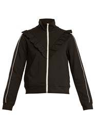 Red Valentino Ruffle Trimmed High Neck Track Top Black