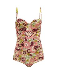 Dodo Bar Or Tatiana Floral Print Ruched Swimsuit Pink Print