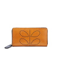 Orla Kiely Women's Big Zip Leather Wallet Tan
