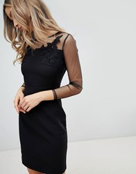 Zibi London Mesh Sleeve Bodycon Dress Black