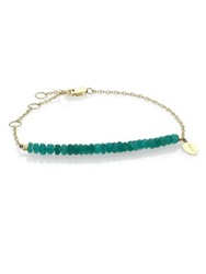 Meira T Emerald And 14K Yellow Gold Beaded Chain Link Bracelet Gold Emerald