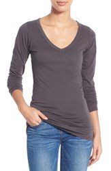 Lamade Women's Long V Neck Cotton Tee Raven