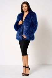 Club L Blue Short Faux Fur Coat By