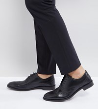Asos Wide Fit Oxford Brogue Shoes In Black Leather Black