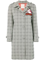 Marco De Vincenzo Prince Of Wales Trench Coat Grey
