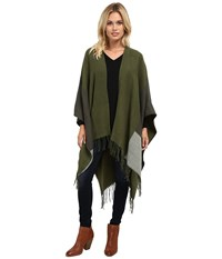 Echo Color Block Reversible Ruana Olive Women's Sweater