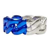 Maison Martin Margiela Silver And Blue Chain Link Ring