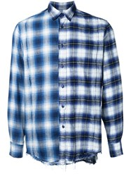 Converse Tokyo One Distressed Plaid Shirt Men Cotton 00 Blue