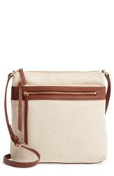 Nordstrom Kaison Linen And Leather Crossbody Bag Metallic Natural Gold