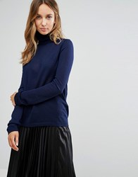 Selected Costa Long Sleeve Rollneck Jumper In Navy Peacoat