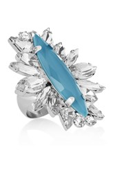 Noir Silver Plated Crystal Ring Blue