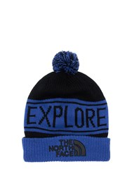 The North Face Retro Tnf Pom Acrylic Blend Beanie Blue