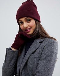 Brave Soul Berry Beanie With Gloves Black