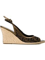 Fendi Vintage Logo Peep Toe Wedges Brown