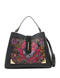 Braccialini Katia Printed Leather Satchel Black