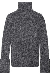 Joseph Melange Wool Blend Turtleneck Sweater Gray