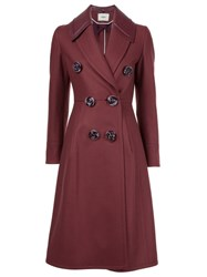 Fendi Double Breasted Coat Red