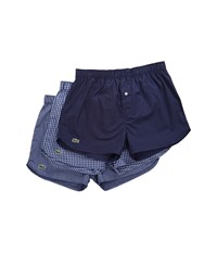 Lacoste Authentics 3 Pack Gingham Print Woven Boxers Navy Men's Underwear