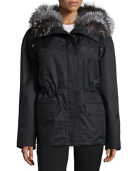 Army By Yves Salomon Fur Trimmed Gabardine Short Parka Jacket Black Silver Noir Argente