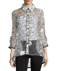 Berek Geometric Print Button Front Top White