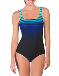 Reebok Ombre Striped One Piece Swimsuit Blue